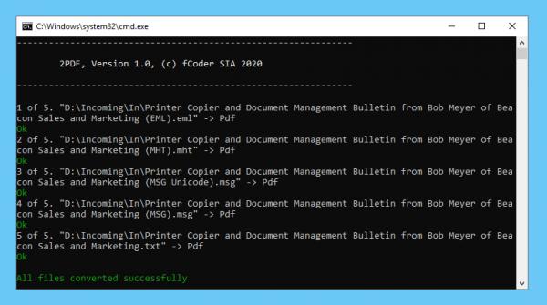 Mit 2PDF mehrere E-Mails von der Kommandozeile aus zu PDF konvertieren