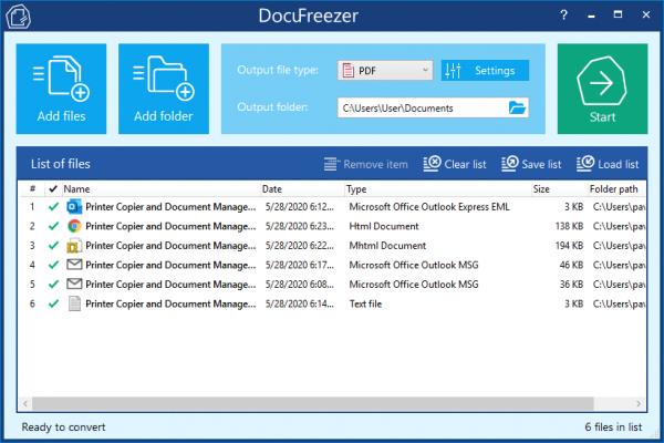 Batch-Konvertierung von Outlook EML oder MSG mit DocuFreezer