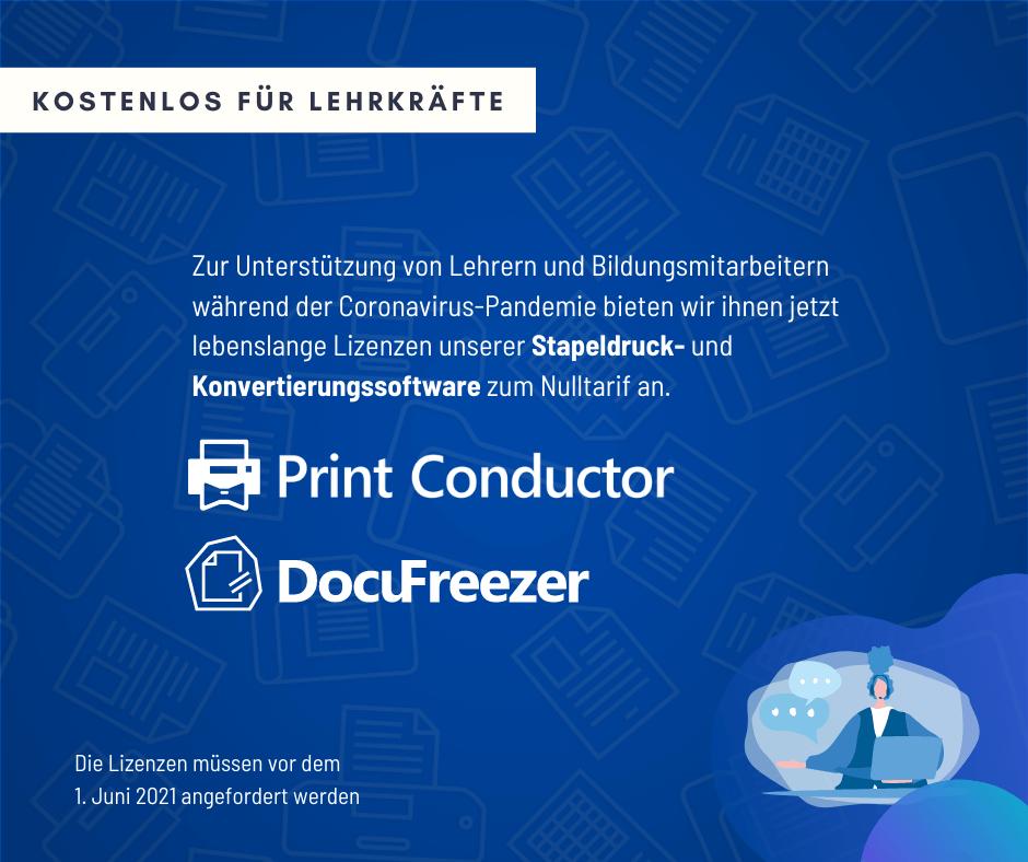 DocuFreezer und Print Conductor - Kostenlose Lizenzen für Schulen und Lehrkräfte